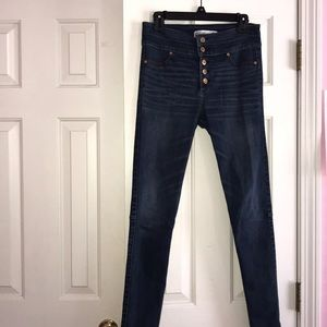 high rise dark wash jeans